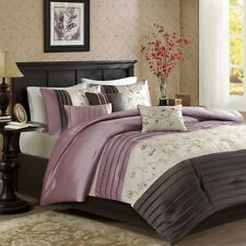 Queen Size New Serene Embroidered 7 Piece Comforter Set Purple Madison Park 3446
