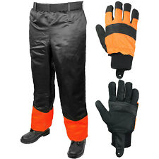 "Chainsaw Trousers Chaps Adjustable 31-42"" + Gloves Forestry Safety Protective"