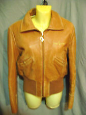 Baby Phat Womens Vintage DISTRESSED Leather Zip Front Jacket Coat XL CAMEL COLOR
