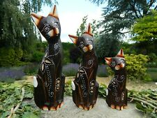 Wooden Cat Carving - Set of 3 Cats 25cm 20cm 15cm - Brown Design