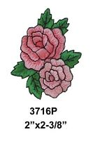 #3716P Pink Rose Flower w/Green Leaves Embroidery Iron On Applique Patch