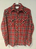Wrangler Wrancher Womens Western Flannel Top Red Plaid Pearl Snap Size M