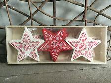 Heaven Sends Crema e Rosso in legno nordico STELLA DI NATALE DECORAZIONI CONFEZIONE DA 12