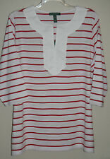 NWT~RALPH LAUREN~WHITE/RED STRIPED 3/4 SLEEVE TUNIC/SHIRT/TOP~PLUS SIZE 1X~NEW