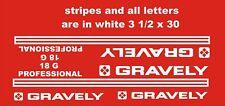 GRAVELY PROFESSIONAL 18  WHITE 31/2 x 301/2   VINYL DECALS PLUS 2 GRAVLEY DECALS
