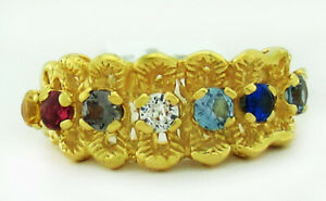 GENUINE MULTI-GEMSTONES MOTHER RING 14K GOLD ** New With Tag ** 4.6 grams
