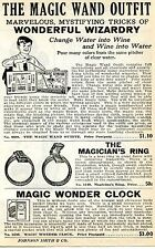 1936 small Print Ad of The Magic Wand Outfit Magician's Ring & Wonder Clock