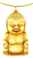 CARTIER 18k Yellow Gold & Natural Stone Buddha Pendant Vintage Circa 1970s