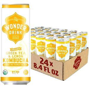 Wonder Drink Kombucha Green Tea & Lemon Sparkling Fermented Tea 8.4 oz-24 count