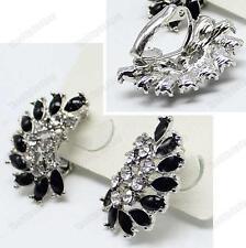Clip on Art Deco Crystal&black Enamel Retro Earrings Silver Rhinestone Vintage