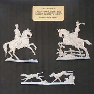 """Empress Elisabeth """"Sissi"""" + Franz Josef - Hunting - tin figures flat 30 mm blank"""