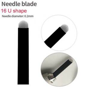 U Shape Microblading 16 Pin Needles Permanent Makeup Eyebrow Tattoo Curved Blade