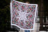 Pavlovo Posad shawl. Scarf. Russian Shawl with Fringe (120x120 cm)