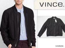 NWT VINCE $495 Silk/Linen Bomber FLIGHT Jacket Size L Black