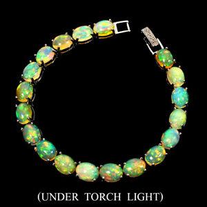 Unheated Oval Fire Opal Rainbow Full Fash 9x7mm 925 Sterling Silver Bracelet 7.5