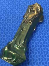 "FLORAN SIGNED BRONZE ART NOUVEAU VASE HIGH RELIEF FEMALE BOTH SIDES 17"" TALL"