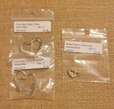 Pinch Bail Heart 22mm Silver Plate, Qty 4, Pewter Charm, Heart Lock, Antique Sil