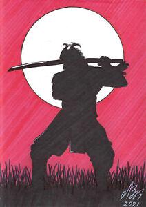 original drawing A5 136LV samovar Art Marker knight warrior samurai Signed 2021