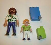 Playmobil Parts + Pieces Lot - 2 People Figures Travelers Rolling Luggage Cases