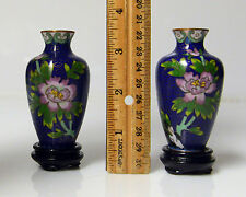Cloisonne Vases pair - blue with flowers and mini stands
