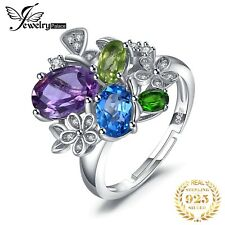 925 Sterling Silver Genuine Swiss Blue Topaz, Chrome Diopside and Amethyst Ring