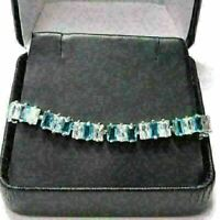 Sparkling Princess Aquamarine Bracelet Women Jewelry Gift 14K White Gold Plated