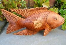Amazing Wooden Hand Carving Figure FISH 30 cm Brown Colour Home Decoration