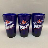 "Libbey Labatt Blue Cobalt Glass Glasses Beer Tumbler 5 7/8"" high Lot of 3"