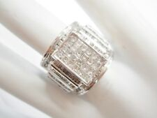 Genuine Solid 10K White Gold 2 CTW Natural Diamond Cluster WIDE Ring #4433