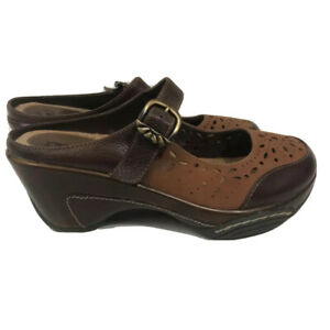 White Mountain Womens Mary Jane Mules Brown Leather Buckle Cutout Heels Shoe 7 M