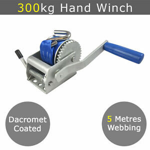 300kg Mini Hand Winch Webbing - Boat Tinny Tinnie Jet Ski Pwc Trailer Quad