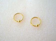 "Pair 14K Gold Plated Captive Bead Ball Ring 16g  5/16"" Ear Lip Free Ship Earring"