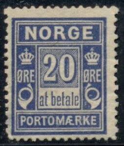 NORWAY #J5v (L8C) 20ore Postage due, Central Printing (vertical wmk), og, LH, VF