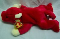 """TY Beanie Buddies RED SNORT THE BULL 14"""" Stuffed Animal Toy 1998"""