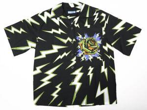 Prada Lightning Bolt Rose Black/Olive/Purple/Brown Cotton Short-Sleeved Shirt