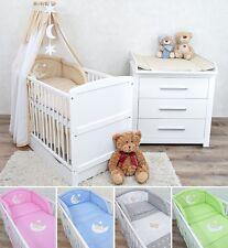 Babyzimmer Babybett mit Schublade Wickelkommode Weiß Bettwäsche Komplett Set