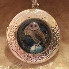 Owl Locket Pendant Necklace. Tibetan Silver.