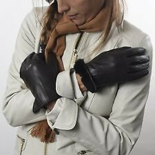 Argentine Kidskin Leather Gloves - Otter Fur Lining