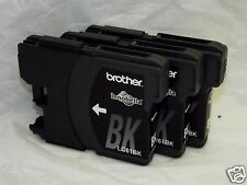 3 Genuine Ink Cartrdiges Brother LC61 Black. Remanufactured. Free Shipping