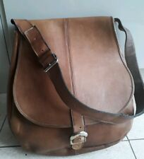 VINTAGE 1970s grande in pelle marrone chiaro Saddle Bag-HAND MADE