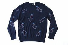 PAUL SMITH NAVY BLUE MEDIUM ARROW ART MERINO WOOL CREWNECK SWEATER MENS NEW