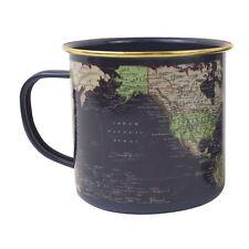 Gift Republic World Map Tin Enamel Retro Mug Blue Vintage Cup Gift Idea For Him