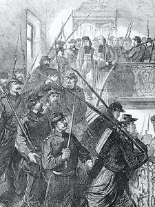 1871 Print FRANCE CIVIL WAR IN PARIS & ARREST OF ARCHBISHOP Franco Prussian War