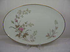 Retired Noritake LUISE OVAL SERVING PLATTER White Pink Rose Gold Trim 14-3/8""