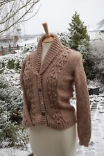 HAMILTON ARAN HAND KNITTED SHAWL COLLAR CARDIGAN SIZE 36/38 D/K AVAILABLE NOW