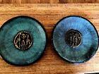 "2 HAKISHUT Israel Brass Copper Verdigris 8"" Wall Hanging Plates Judaica"