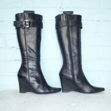 Next Leather Boots Size Uk 4 Eur 37 Womens Black Wedge Boots Christmas