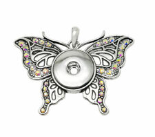 Necklace Fit 18mm Noosa Snap Button New Crystal Butterfly Chunk Drill Pendant