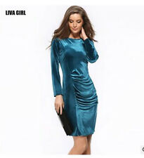 HOT Womens Lady Charming Crushed Velvet Round Neck Bodycon Party Midi Dress GB