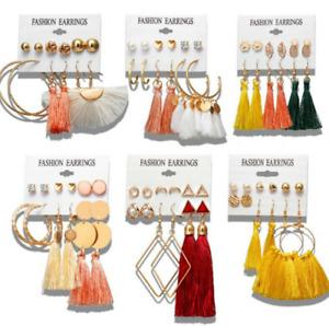 Lot Styles Women Crystal Pearl Earring Set Ear Stud Long Tassels Bohemia Jewelry